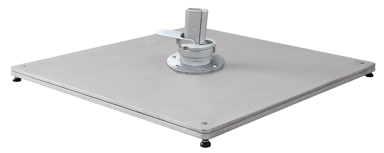Metal base for cantilever parasols